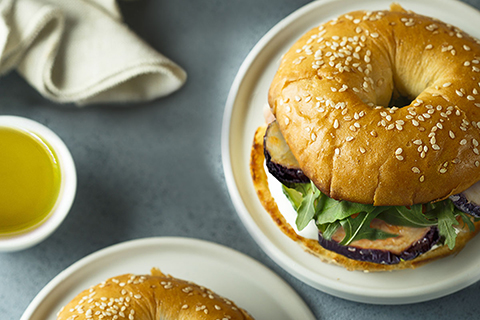 Eggplant Bagel with Honey and Brie